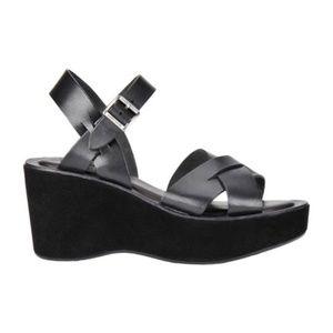 Kork-Ease Ava Black Leather Suede Platform Sandal